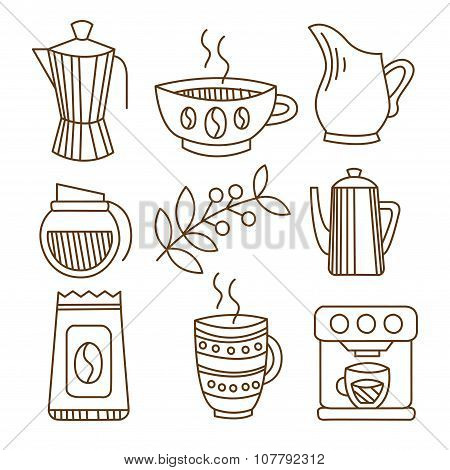 Coffee Elements in Handdrawn Linear Style. Vector Illustration Set