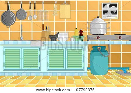 Kitchen Interior Background With Kitchenware. Vector Illustration.