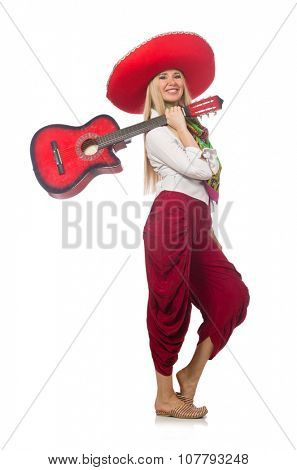 Woman wearing guitar with sombrero