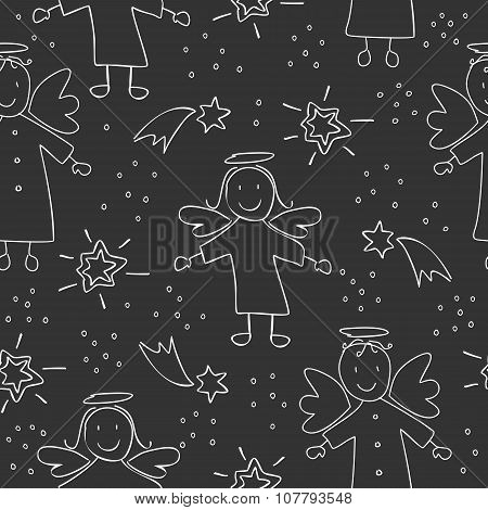 seamless Christmas pattern with angels