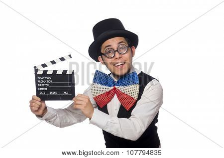Funny man wearing giant bow tie