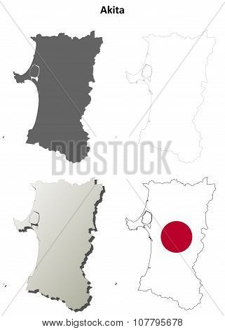 Akita blank outline map set