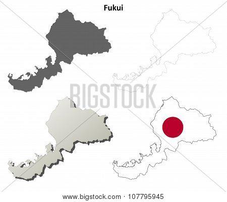 Fukui blank outline map set