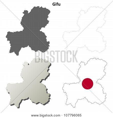 Gifu blank outline map set