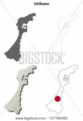 Ishikawa blank outline map set