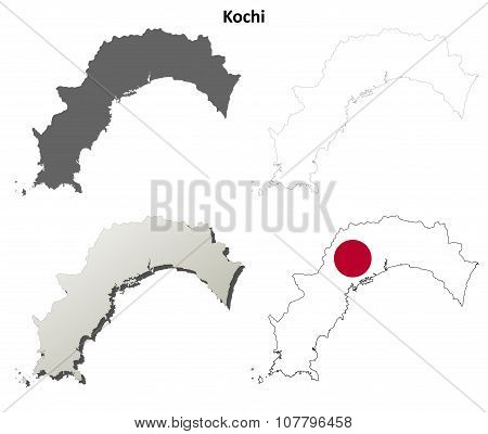Kochi blank outline map set