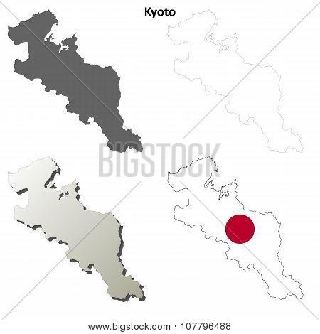 Kyoto blank outline map set