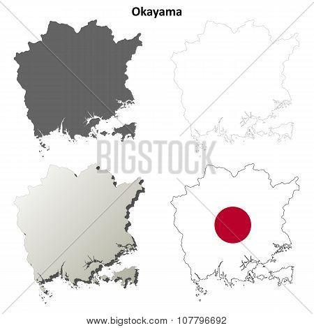 Okayama blank outline map set
