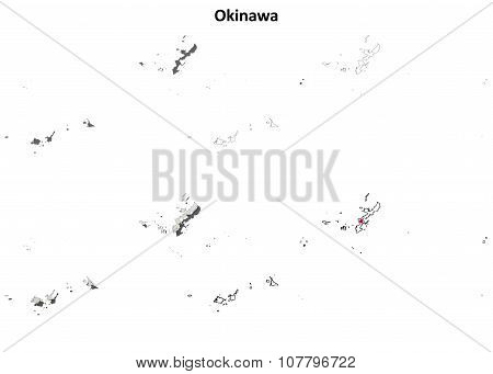 Okinawa blank outline map set