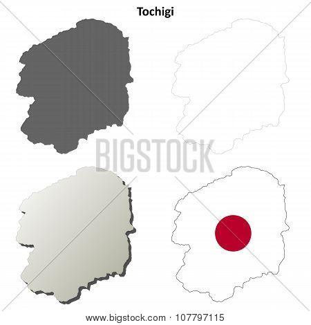 Tochigi blank outline map set