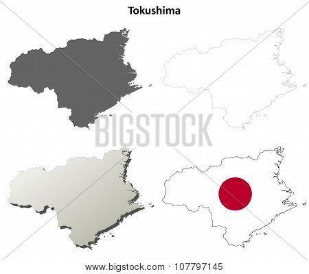 Tokushima blank outline map set