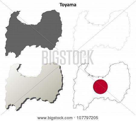 Toyama blank outline map set