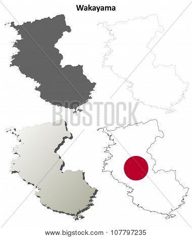 Wakayama blank outline map set