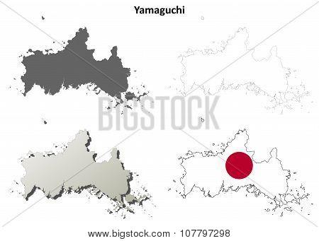Yamaguchi blank outline map set