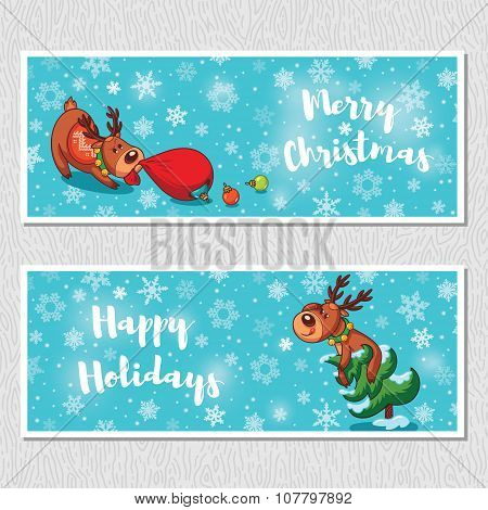 Merry Christmas horizontal banners with cute cartoon deer