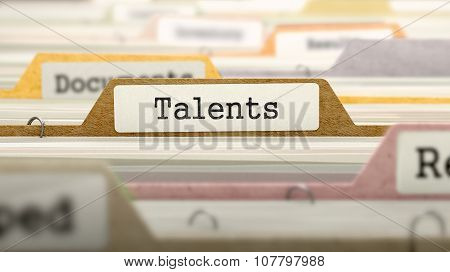 Talents Concept on File Label.