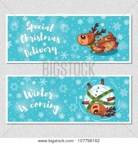 Winter horizontal banners with cute cartoon deer