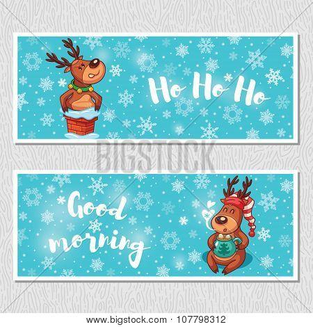 Winter horizontal banners with cute cartoon deer