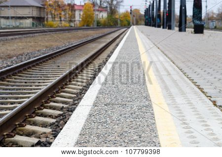 Blurred Image Of Railway Track And Rail Platform