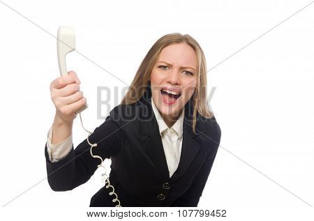Pretty office employee holding phone isolated on white