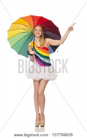 Woman with colorful umbrella on white