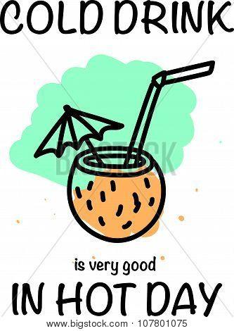 Vector hand drawn illustration of summer cocktail