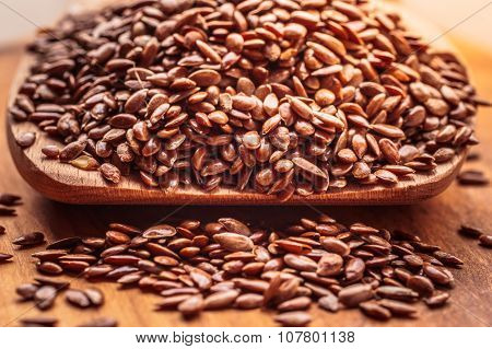Flax Seeds Linseed On Wooden Spoon