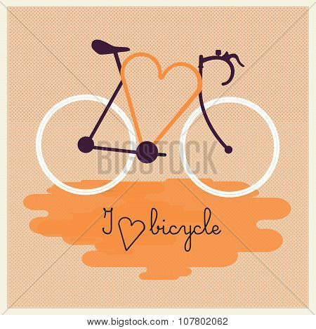 Vector bicycle silhouette with graphic message.