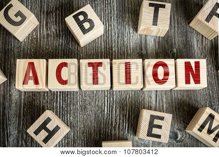 Wooden Blocks with the text: Action