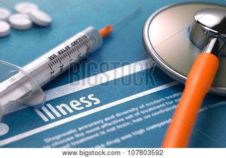 Illness. Medical Concept on Blue Background.