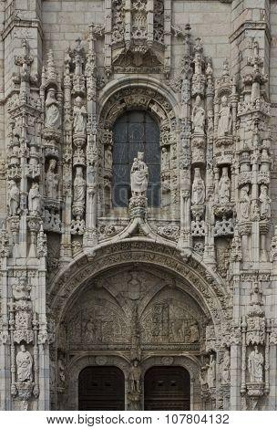 Ornate Manueline South Portal Of Jeronimos Monastery