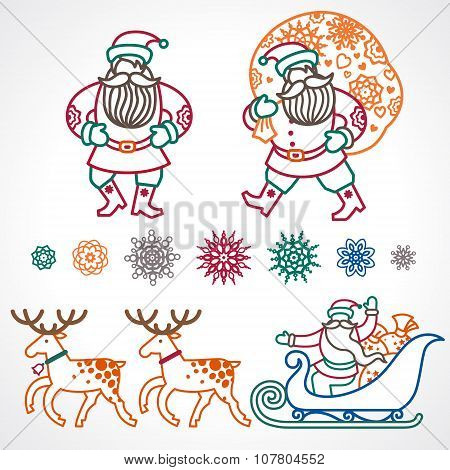 Set Of Christmas Vector Elements.