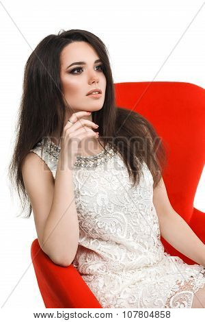 beautiful glamorous girl with lips in smart white dress  a glass of champagne isolated on background