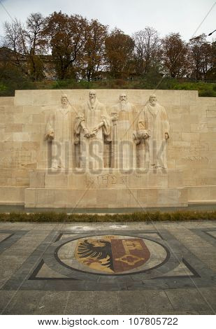 GENEVA-SWITZERLAND OCTOBER 25, 2015:  The International Monument to the Reformation in Geneva, Switzerland honor many of the main individuals of the Protestant Reformation by depicting them in statues