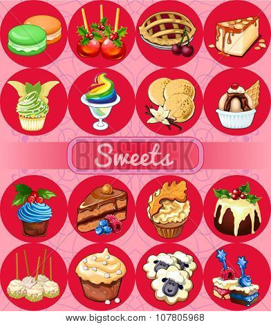 Great set of desserts, 16 delicious icons