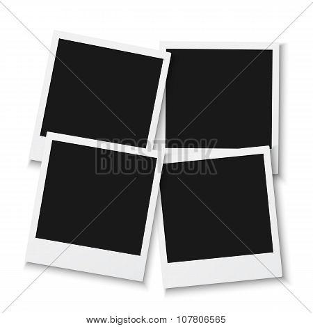 Set of Vintage Photo Frame Isolated on White Background. Retro P