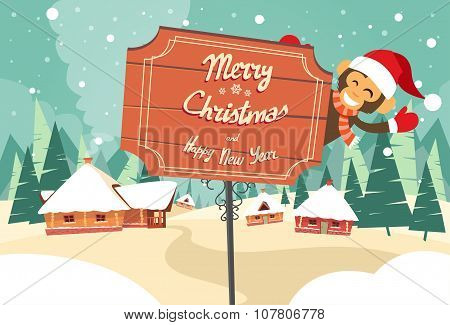 Marry Christmas Happy New Year Road Sign Monkey