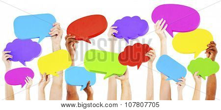 Hands Holding Multi Colored Speech Bubbles Concept