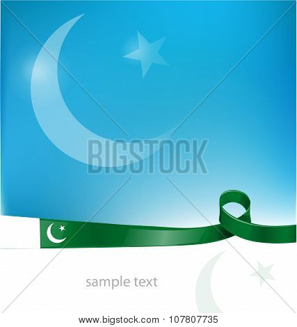 pakistan ribbon flag on sky background