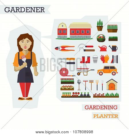 Set of elements for horticulture with gardener.