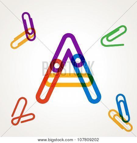 Letter A From Paper Clip Alphabet.