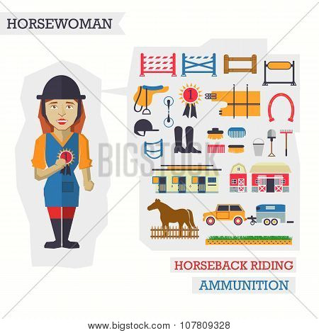 Set of elements for horseback riding with horsewoman.