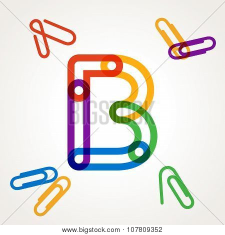 B Letter From Paper Clip Alphabet.