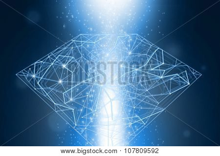 Blue abstract mesh diamond shape