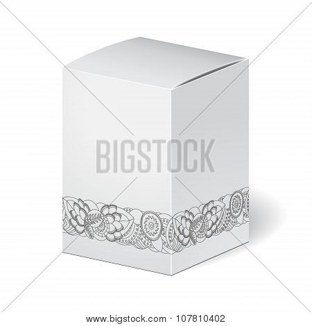 Cardboard Package Isolated Box On The White Background. Mock Up, Template. Stock Vector. Floral Bord