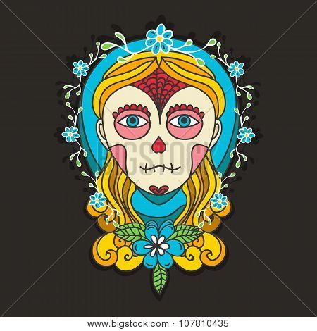 Day of dead skull girl with marigold.