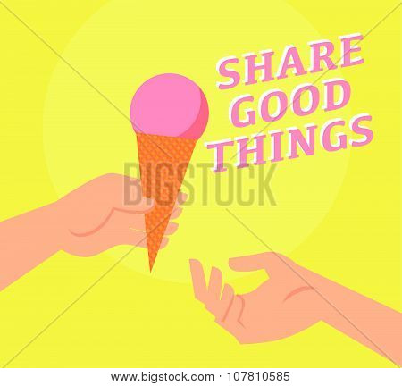 Vector flat summer illustration with ice cream and hands