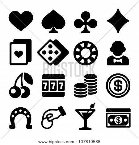 Gambling Casino Icons Set on White Background. Vector