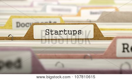 Startups Concept on Folder Register.