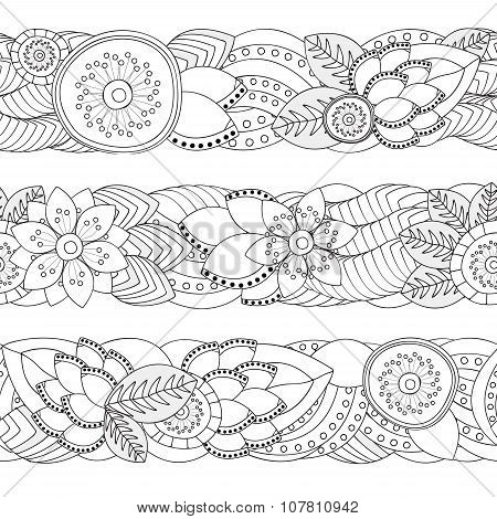 Set Of Seamless Floral  Doodle  Pattern. Border. Stock Vector